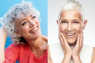 A split photo of two women with gray hair