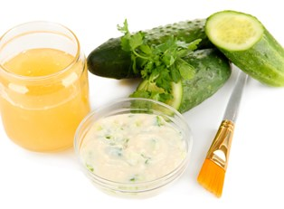A mixture of honey, cucumber, and mint to be used as a homemade beauty products