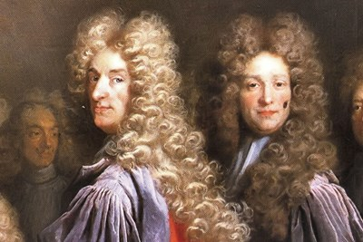 a painting of men wearing wigs before women did.