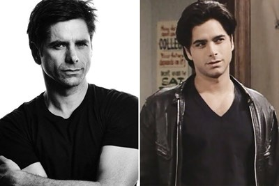 Current and young John Stamos