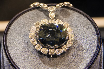 The Hope Diamond Necklace in the Smithsonian Institution.