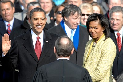 Barack Obama being sworn in