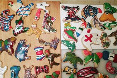 collage of poorly decorated christmas cookies