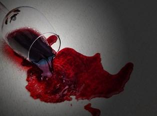 Spilled red wine on carpet