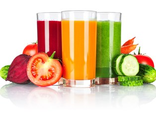 Three glasses of juice for a cleanse