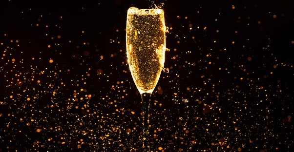 Glass of sparkling champagne