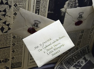 An addressed letter sent to Harry Potter via Owl Post