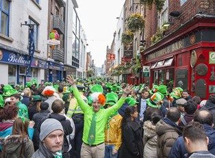 A St. Patrick's Day crowd.