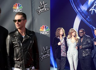 An image American Idol contestants next to an image of Voice Judges
