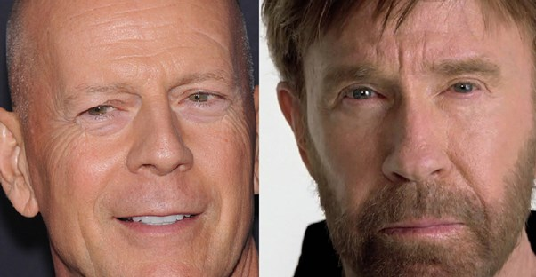 Side by side images of chuck norris and bruce willis
