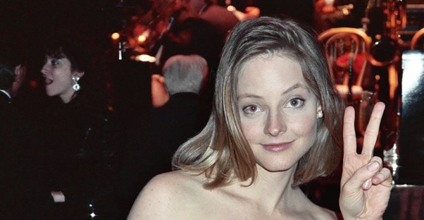 Jodie Foster throwing the peace sign