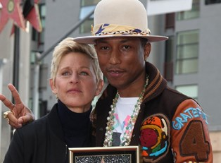 Pharrell Williams with Ellen Degeneres