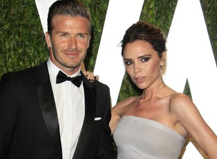 David and Victoria Beckham at an event