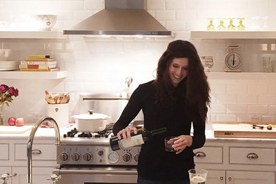 Vegan, Kate Taylor, in the kitchen.