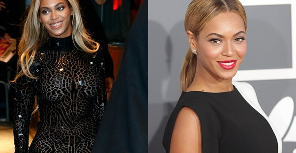 Two images of Beyoncé.