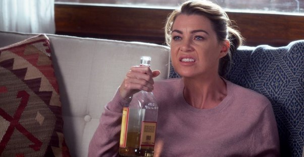 Meredith Grey drinks away her pain like all of us ex Greys fans