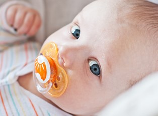 A baby recently cured of pacifier rash