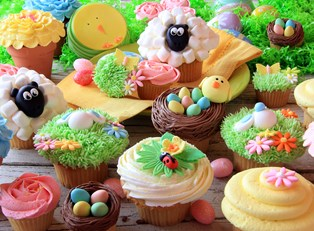 A table filled with Easter treats.