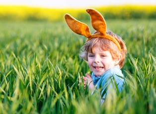 little boy celebrating Easter
