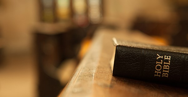 Bible laying on a table