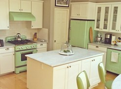 Kitchen with green appliances