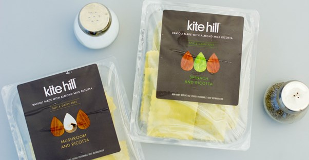 kite hill ravioli packages on a kitchen table