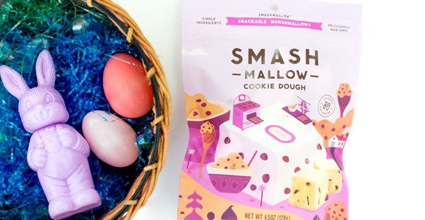 an easter basket with eggs and a smash mallow bag
