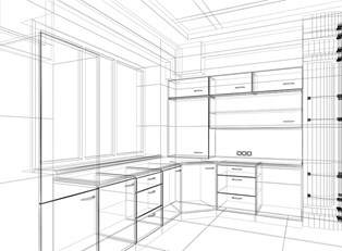 a prospective drawing of a new kitchen