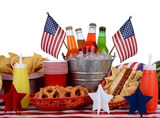 A picnic table decorated for fourth of july