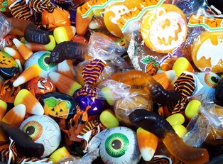 A pile of halloween candy