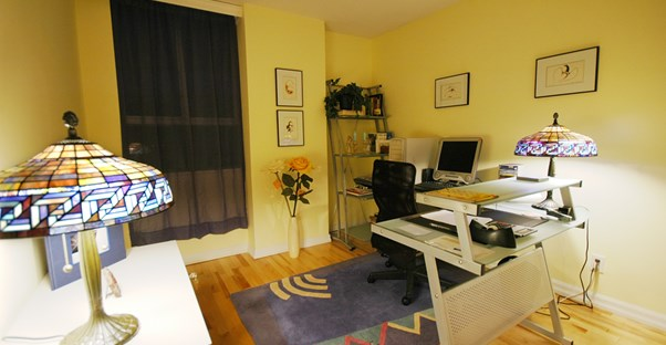 A home office placed in a family room