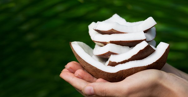 A woman holding pieces of coconut oil