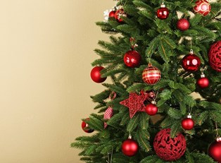 A decorated artificial christmas tree