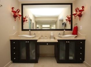 A newly installed bathroom sink.