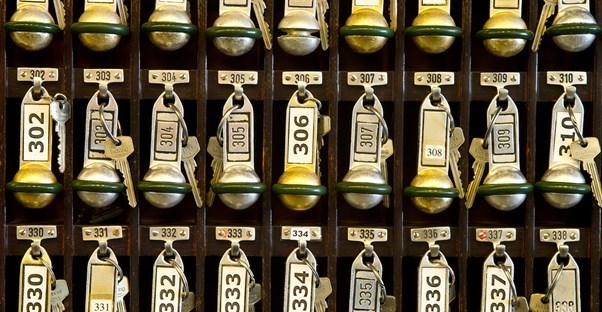 Rows of hotel keys