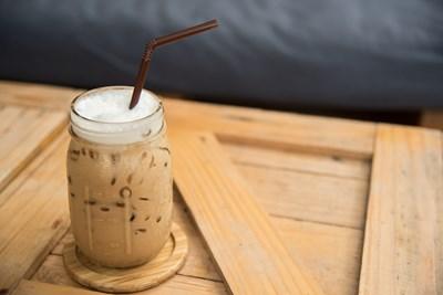 A jar of iced coffee