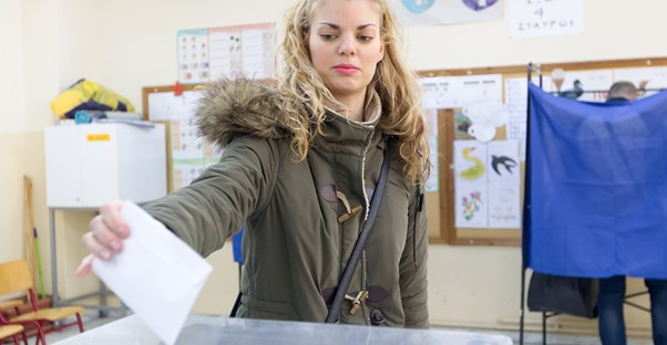 Young girl voting for the first time