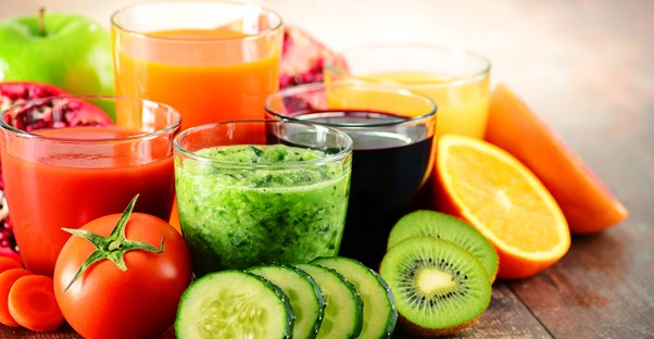 Glasses of fruit and vegetable juices common in vegan diet plans