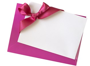 Pink and white wedding invitations made by the bride herself